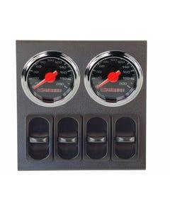 airmaxxx Dual Needle Black Air Suspension Gauges, Panel & 4 Paddle Switches