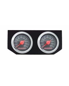 Dual Needle Air Ride Suspension Gauges & Double Display Panel, Black Face airmaxxx