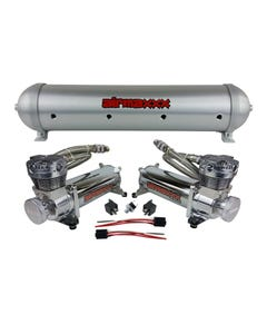 5 gallon aluminum air tank brushed & dual air compressors 480 chrome airmaxxx
