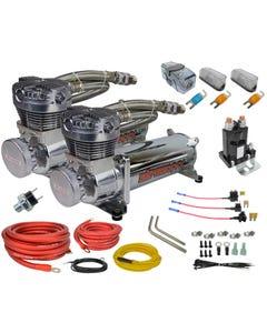 airmaxxx 480 chrome air compressor dual pack & wiring kit