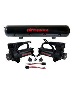 airmaxxx 580 Black Air Ride Compressors & 5 Gallon 9 Port Steel Air Tank