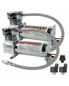 airmaxxx 400 Chrome Air Ride Suspension Compressors (Dual Pack) No Pressure switch