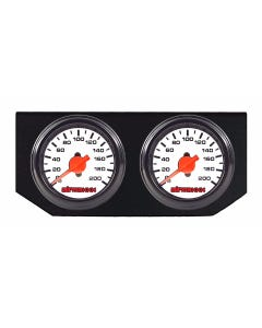 Dual Needle Air Ride Suspension Gauges & Double Display Panel, White Face airmaxxx