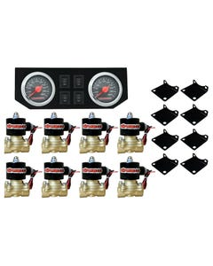 "Air Ride Suspension 1/2""npt Brass Valves Dual Needle Air Gauges Panel & Switches"