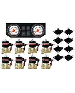 "Air Ride Suspension 3/8""npt Brass Valves Dual Needle Wht Gauges Panel & Switches"