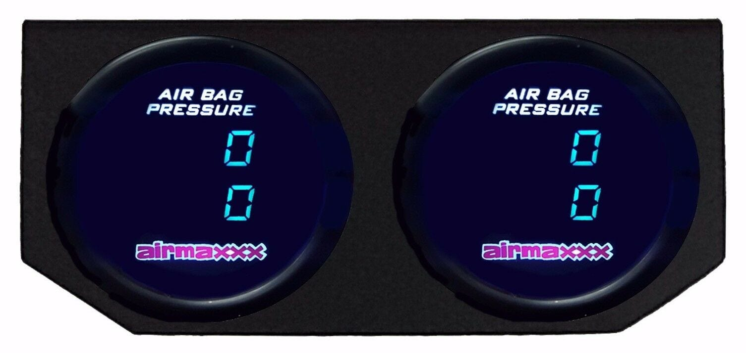 Blue Goopool Air Suspension Pressure Gauge 2Inch 52mm Smoked Lens Dual Digital Max 290 PSI with 2PCS 5 Meters Electronic Sensors for Air Ride Suspension Systems