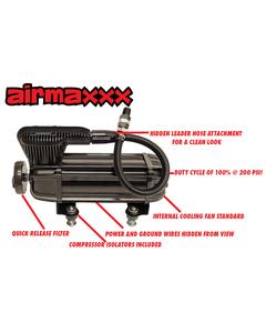 Airmaxxx X-Series Air Ride Compressor 100 Duty @ 200PSI 2.2CFM Stealth Black-none