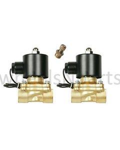 """2 air suspension brass valves 1/2""""npt electric solenoids & slow down dump"""